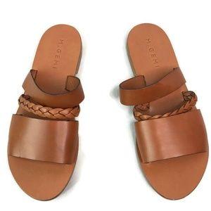 M Gemi Brown Braided Slide Flat Strappy Sandals